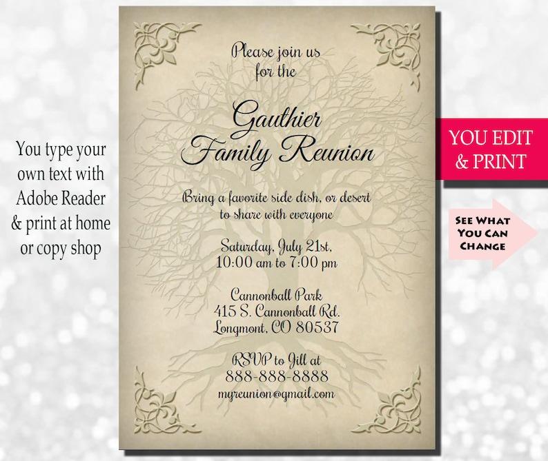 Family Reunion Invitation Family Party Invitation Family Get Etsy