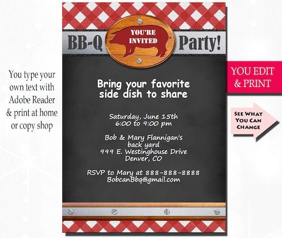 bbq invitation bbq party invitation barbecue invitation summer