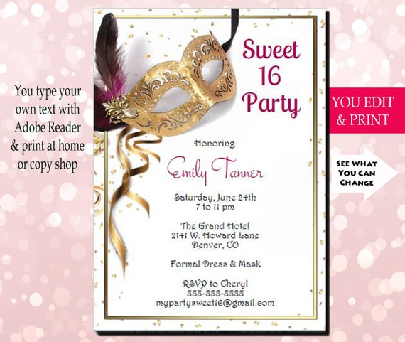Sweet 16 Invitation Sixteen Birthday