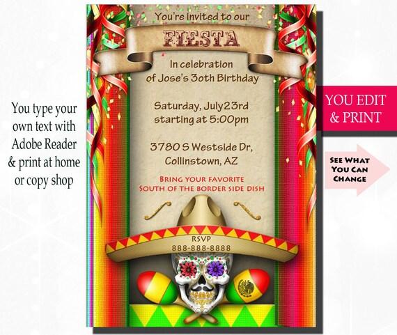 Fiesta Invitation Fiesta Birthday Invitation Fiesta Party Invitation Mexican Fiesta Invitation Mexican Birthday Invitation You Edit Pdf