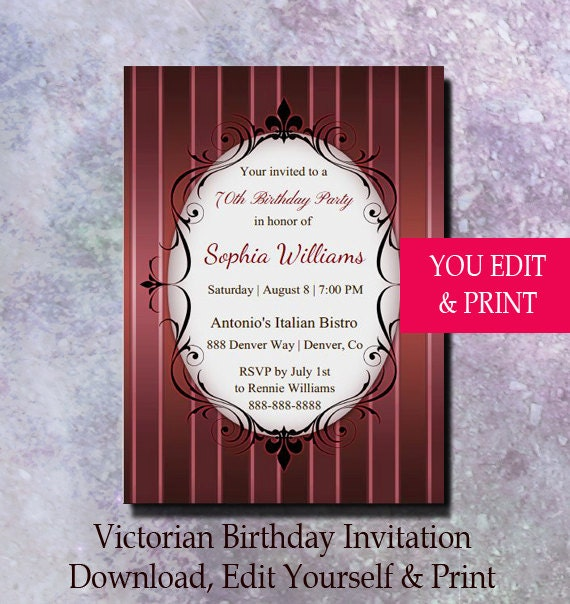 70th Birthday Invitation Party Victorian