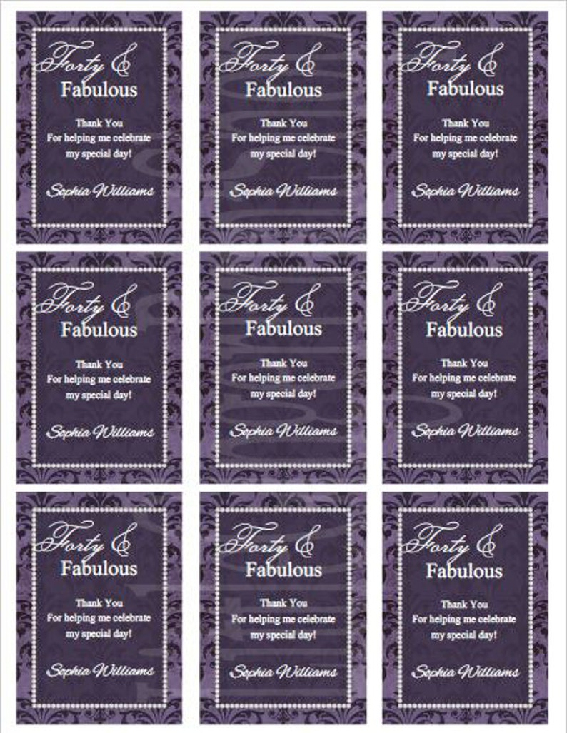 40th Birthday Favor Tags Gift