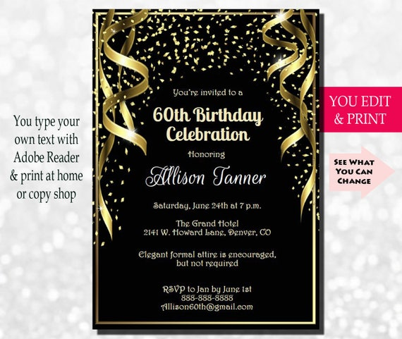60th Birthday Invitation 60th Birthday Party Invitation 60th Invitation Gold Glitter 60th Birthday Invitation You Edit Pdf
