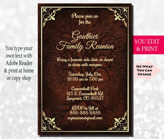 family reunion invitation family party invitation family tree