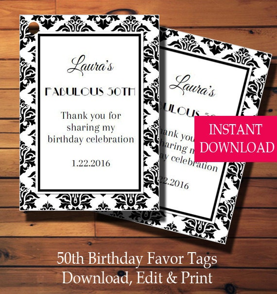 50th Birthday Favor Tags Gift