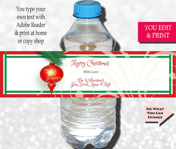 Christmas Party Label Christmas Water Bottle Label Christmas Label