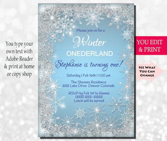 Winter Onederland Invitation Winter Onederland Birthday Invitation