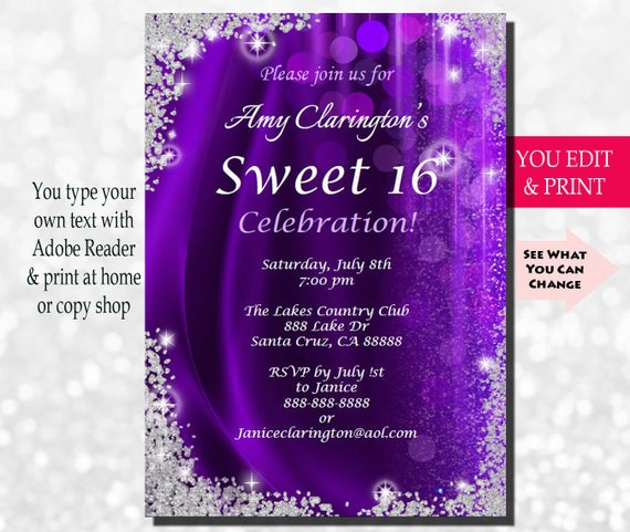 sweet sixteen invitation sweet sixteen party invitation etsy