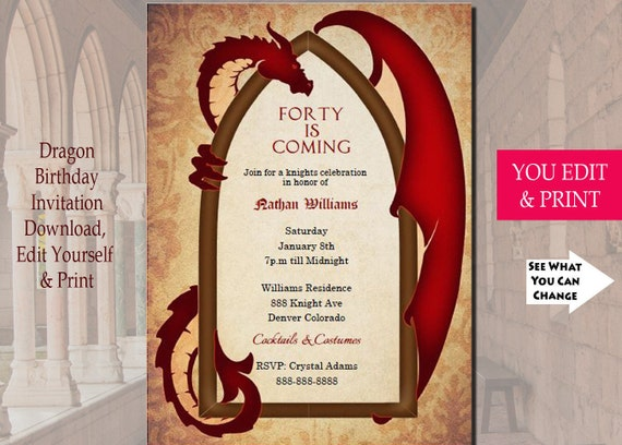 Game Of Thrones Inspired Dragon Invitation Male