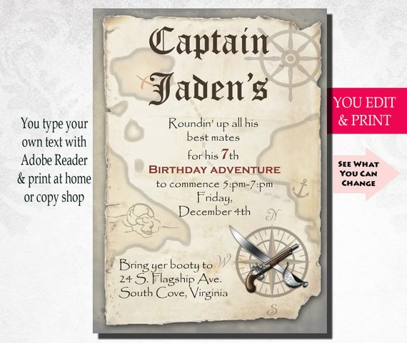 Pirate Birthday Invitation Party Boy Instant Download Editable PDF