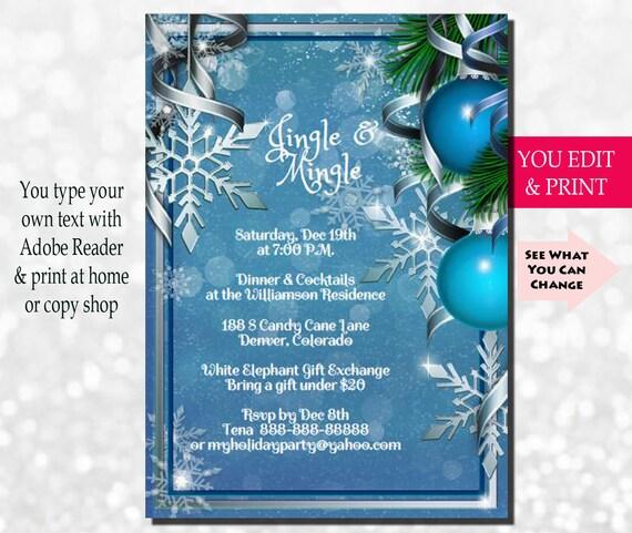 christmas invitation christmas party invitation holiday invitation