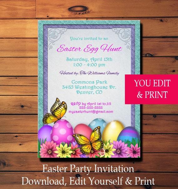 Easter Egg Hunt Party Invitation Template Easter Flyer Instant download File