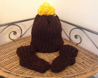 Brown and Sunflower Yellow Knit Baby Hat And Bootie Set By Little Bohemian Heart With Free Shipping