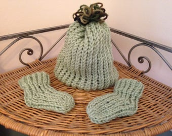 Light Green Knit Baby Hat And Bootie Set By Little Bohemian Heart With Free Shipping