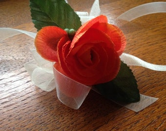 Simple Orange Begonia Wrist Corsage Prom Homecoming Wedding Bridesmaid Mother Of The Bride Wristlet Free Shipping Boho Bohemian