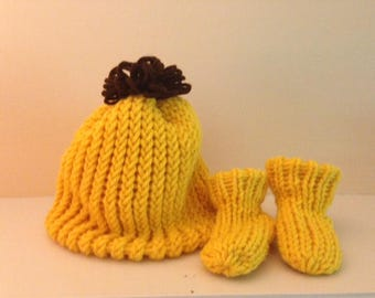 Yellow Knit Baby Hat And Bootie Set By Little Bohemian Heart with Free Shipping