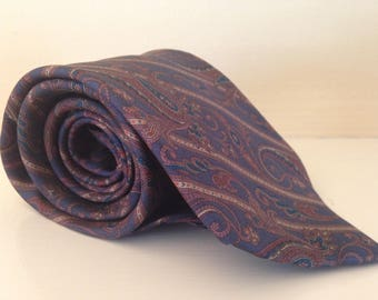Vintage Blue And Burgundy Paisley Tie With Free Shipping