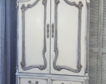 SOLD*** Vintage French Country, Shabby Chic Armoire, Wardrobe, TV Cabinet, Hand Painted and Distressed in Layers on Antique White Over Gray