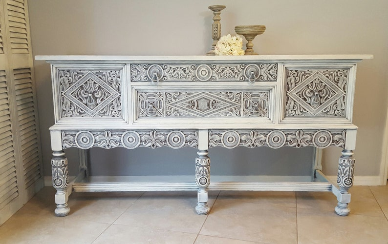 Sold Rare Ornate Antique Buffet Shabby Chic Server Sideboard Hand Painted And Distressed In Layers Of White Over Gray