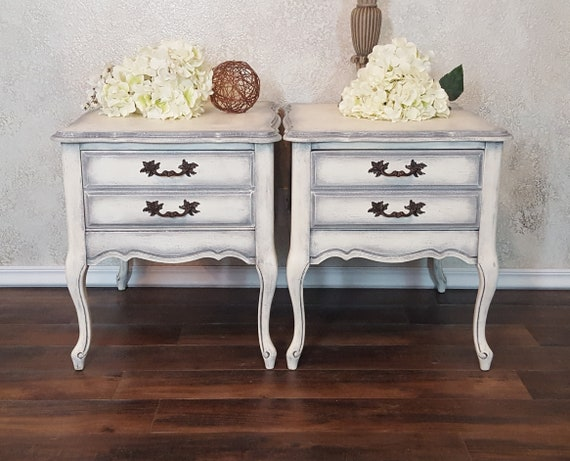 Magnificent Shabby Chic End Tables Antique Nightstands French Provincial Accent Tables Hand Painted And Distressed In Antique White Over Grey Home Interior And Landscaping Palasignezvosmurscom