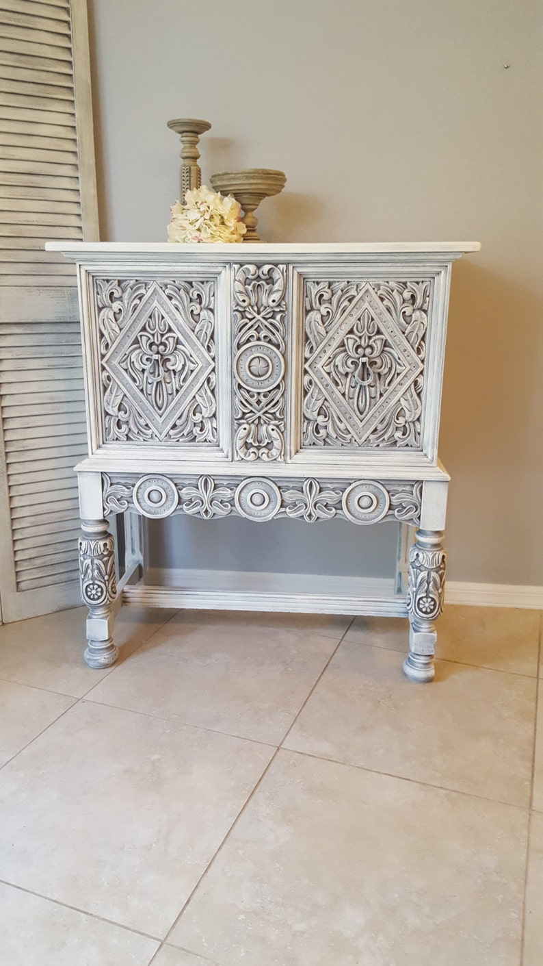 Sold Rare Ornate Antique Small Buffet Shabby Chic Server Sideboard Hand Painted And Distressed In Layers Of White Over Gray