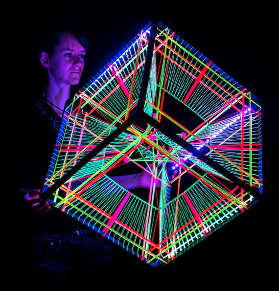 big led rgb tesseract hypercube psychedelic real 3d decor etsy