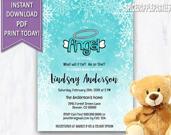 Winter Gender Reveal,Gender Reveal Party,Winter Baby Shower, Little Angel, Baby Shower,Gender Reveal Invite,He Or She, Boy or Girl,
