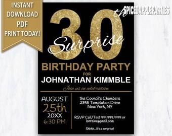 30th Birthday Invitation Printable Invite Party