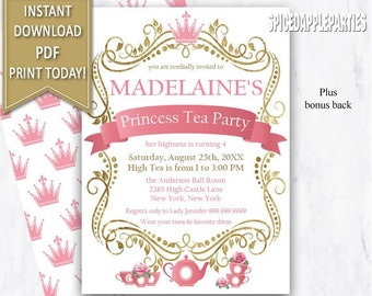 Princess Tea Party Invitation| Tea Party, Princess Tea Party,Princess,Tea Party Invitation,Princess Party,Tea Party Invite,Princess Birthday