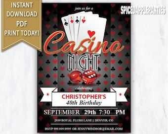 Casino Night 40th Birthday Party Invitation