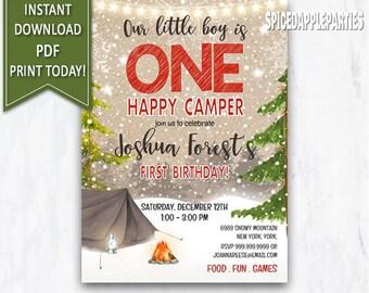 Camping Birthday Invitation One Happy Camper Outdoor Party Winter Invite Rustic
