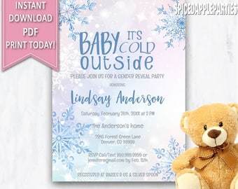 Baby It's Cold Outside,Winter Gender Reveal,Gender Reveal Party,Winter Baby Shower, Baby Shower,Gender Reveal Invite,He Or She, Boy or Girl,