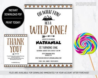 Wild One Birthday, Wild One Invitation, First Birthday, Wild One, Birthday Invitation, Tribal Invitation, Wild One Party, Tribal Birthday