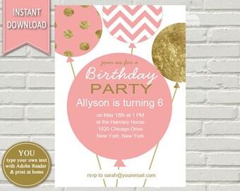 balloon invitation etsy