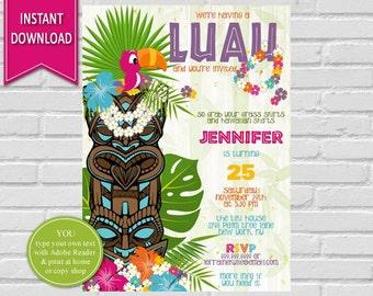 Luau Invitation Birthday Party Hawaiian