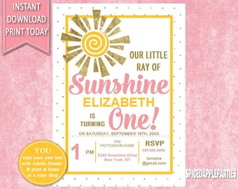 First Birthday | Birthday Invitation, 1st Birthday, Ray of Sunshine, Our Little Sunshine, First Birthday Girl, Digital Invitation, Girl