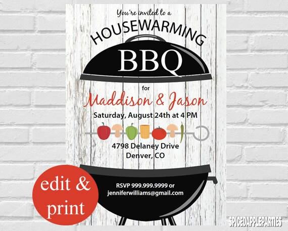 Housewarming BBQ Invitation INSTANT DOWNLOAD Edit With Acrobrat