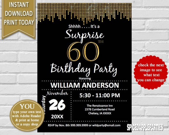 Surprise 60th Birthday Invitation 60th Birthday Invite Suprise