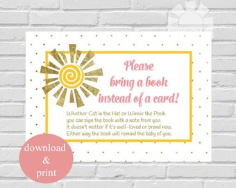Baby Shower Bring A Book Cards, Little Ray of Sunshine Baby Shower, You Are My Sunshine - INSTANT DOWNLOAD