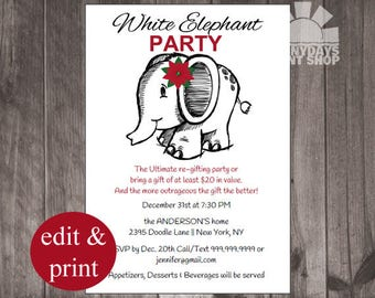 Christmas Re-gift Party, White Elephant Party, New Years Eve Party Printable, diy INSTANT DOWNLOAD DIY