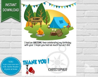 Camping Birthday Thank You Card   Thank You Note, Printable Thank You,Birthday Thank You Notes, Camping Theme Thank You Card, Thank You Card