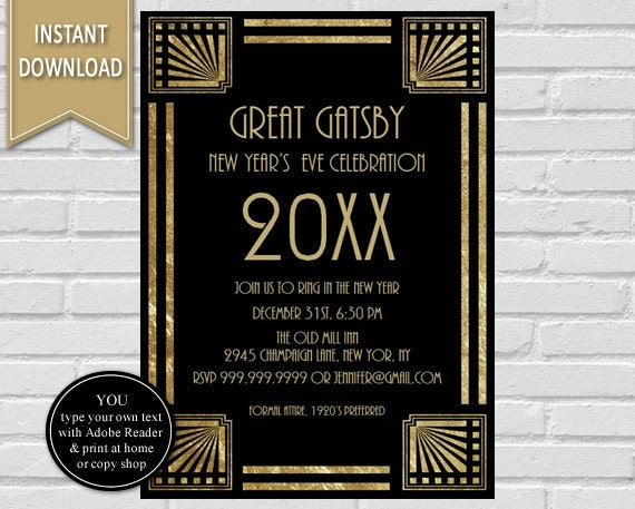 New Year's Eve Great Gatsby Party Invitation