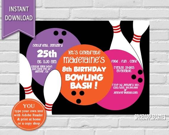 bowling party bowling invitation bowling birthday kids birthday