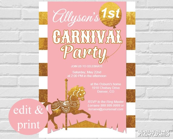 First Birthday Carnival Theme Invitation Pink Gold INSTANT DOWNLOAD Edit With Acrobrat Reader DIY