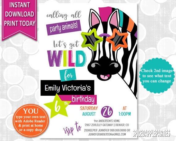 Animal Party Birthday Invitation