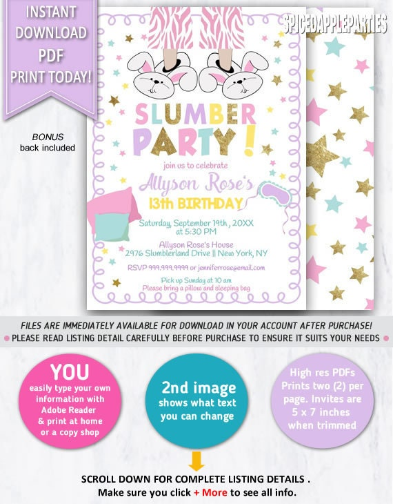 Slumber Party Birthday Invitation Sleepover Invite Pajama Printable