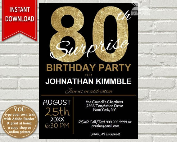 Mens 80th Surprise Birthday Invitation