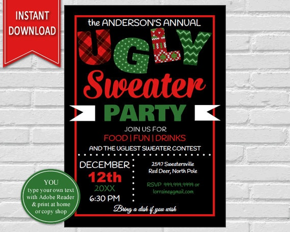 Ugly Sweater Christmas Party Ugly Sweater Invite Christmas