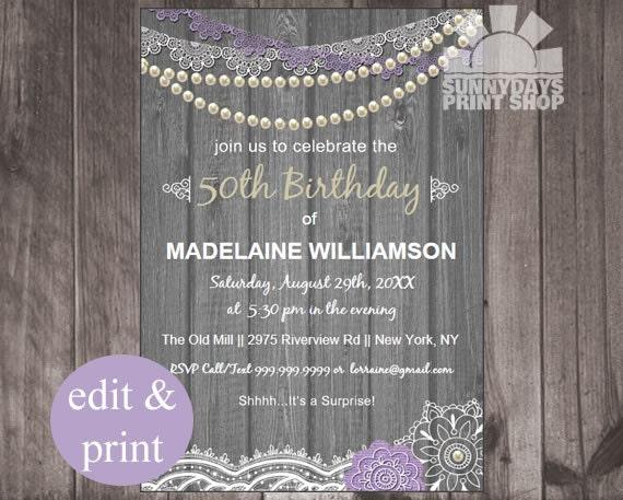Shabby Chic 50th Birthday Invitation Invite50th Invite Rustic 30th40th INSTANT DOWNLOAD