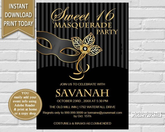 Sweet 16 Masquerade Invitations